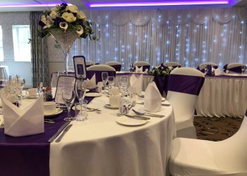 Purple theme table setting at Ivy Hill Hotel