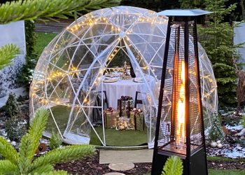 Festive Igloo Dome lit up at Ivy Hill Hotel